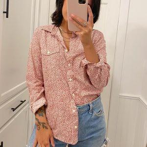 Equipment Pink Ditsy Floral Lrint Button up Shirt